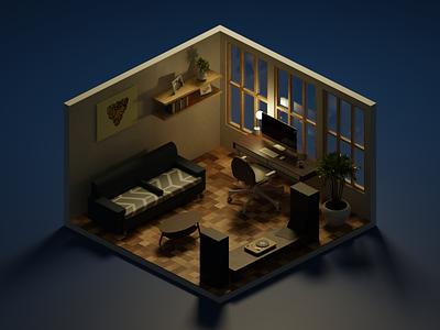 My room_ night elhosary polygonrunway cycles blendercycles rendering render night design 3d b3d blender 3d blender3d blender room