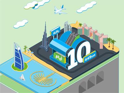 Mobily - Dubai vector graphic design 3d illustration illustrator design isometric