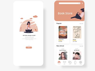 Book Store App minimal website illustrator vector app icon ux ui design illustration