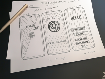 Very first UX/UI drawing - login screens touch id face id password screen login mobile sketch iphone drawing