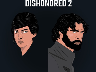 Dishonored 2 flat web illustration design