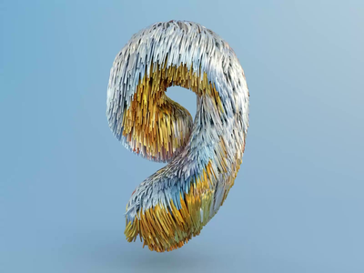 9 - 36 days of type 2020 hair mgcollective animation motion 2020 typography lettering illustration 36daysoftype c4d octane cinema4d render 3d