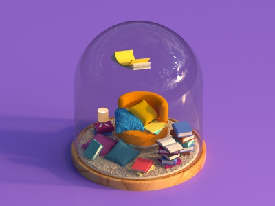 Confined Domes. 2 Reading Room covid confinement confined quarantine armchair space room reading room library book motion isometric c4d octane cinema4d render 3d