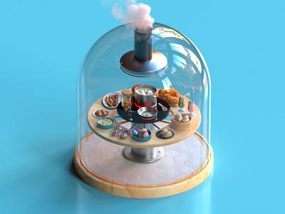 Confined Domes. 3 Kitchen motion dome covid confinement 2020 illustration 36daysoftype c4d octane cinema4d render 3d