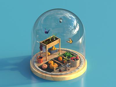 Confined Domes. 4 Homegrown confinement quarantine animation motion dome illustration 36daysoftype c4d octane cinema4d render 3d