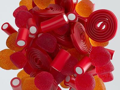Licorice jelly gummy licorice food motion animation 2020 c4d render octane cinema4d 3d