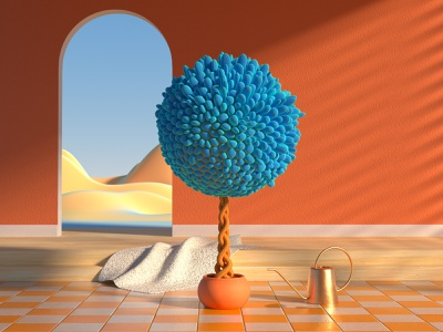 Blue tree with watering can room nature tree voronoid motion c4d octane cinema4d 3d
