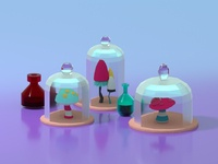Lowpoly Mushrooms inside Lowpoly Glass Domes