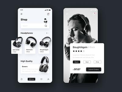 Earphone purchase app manhattan music equipment buy 电商 ux 明确 干净 logo web design 界面设计 app ui