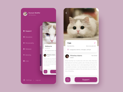 Pet knowledge exchange program animasl app applications catalog clean figma magental ios line icons ui material mobile pet adoption concept search side