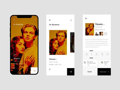 Theater reservation app titanic reservation 界面设计 uiux ui ticket movie minimal concept cinema booking app