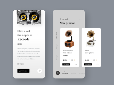 Phonograph purchase program classical music ui prices designs product price navigation mobile marketplace interface icons graphice ecommerce design buy auto app
