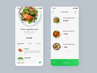 Food Delivery - Mobile App 界面设计 green ui scan restaurant minimal ios interace interaction food app design concept clean cards app animation