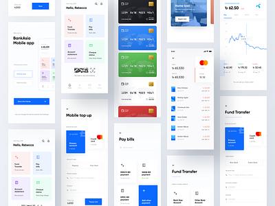 BankAsia Mobile app wallet ui transaction payment finance system money design dashoard creditcard concept bank app