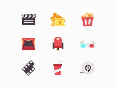 Movie Vector Icon Set vector icons multicolor icons cinema move icons