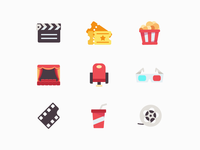 Movie Vector Icon Set vector icons multicolor icons cinema move icons