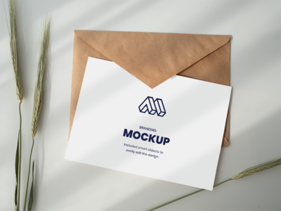 Paper Above Envelope Mockup greeting card free download free smart object showcase mock-up mockup freebie psd