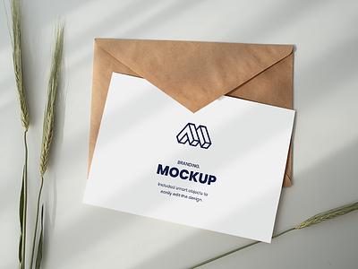 Paper Above Envelope Mockup greeting card free download free smart object showcase mock-up mockup freebie psd
