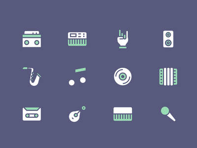 Simple Vector Music Icons free icons multicolor icons speakers microphone note instruments music icons