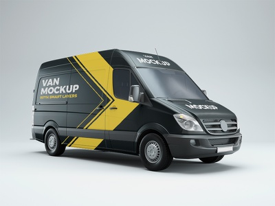 Van PSD Mockup free psd free mockup cargo van small truck realistic branding vehicle mockup van mockup