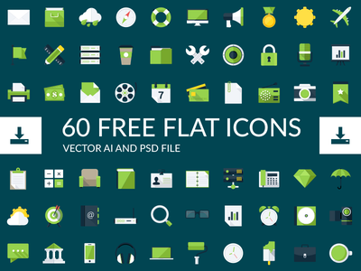 Freebie - Flat Icons freebie free icon flat collection vector psd modern style design icons green