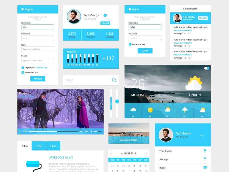 Freebie - Atom UI Kit freebie free ui kit atom design psd interface modern clean simple user interface