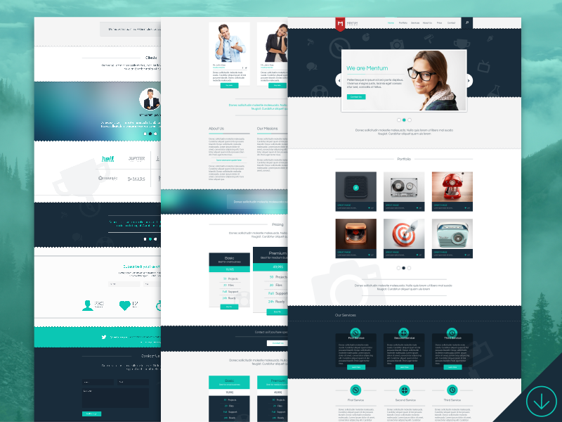 Freebie - Mentum One Page Template free freebie web page design template theme portfolio single modern psd onepage