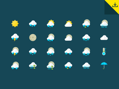 Freebie - Weather Icons free freebie weather icon icons set collection psd vector design flat forecast