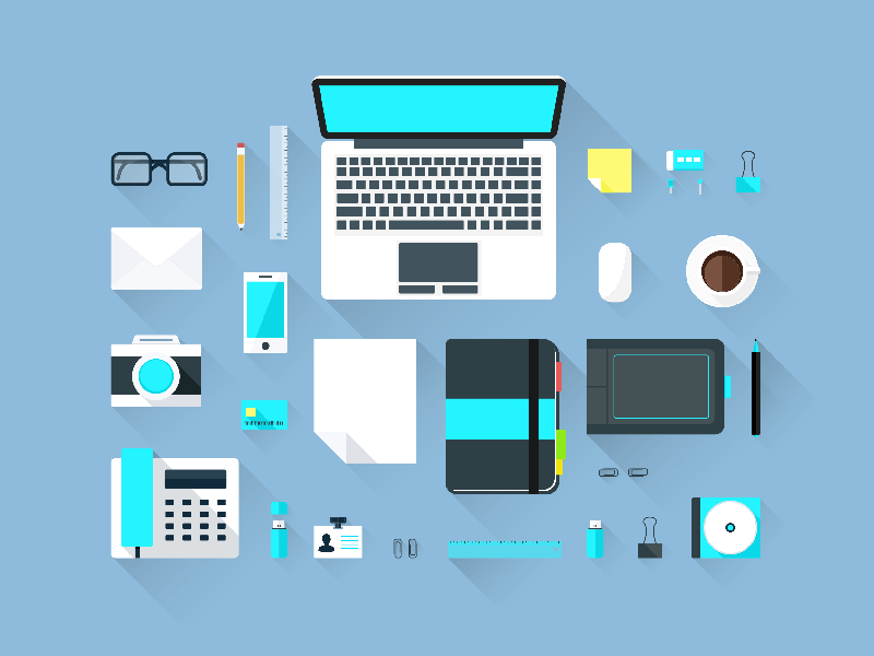 Freebie - Flat Workspace Elements free freebie flat workspace design modern elements work office desk top view