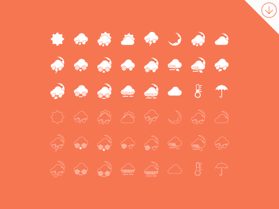 Freebie - Simple Weather Icons free freebie simple weather icon icons set collection vector psd line forecast