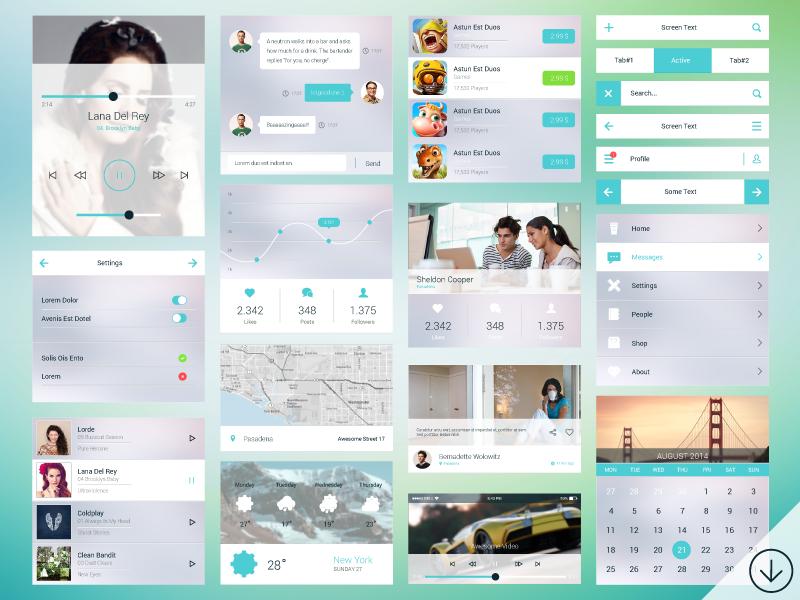 Freebie - PSD Mobile Ui Kit free freebie mobile psd set design flat transparent modern app ui kit