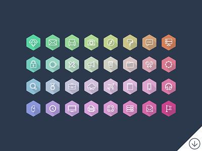 Freebie - Lumina Hexagon Icons Set free freebie icon icons set collection hexagon luminosity psd vector flat simple