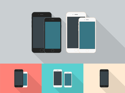Freebie - Flat Style iPhone 6 Mockups