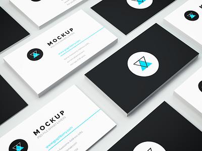 Freebie - Business Card PSD Mockup free freebie psd mockup mock-up isometric minimalistic business card showcase design business card