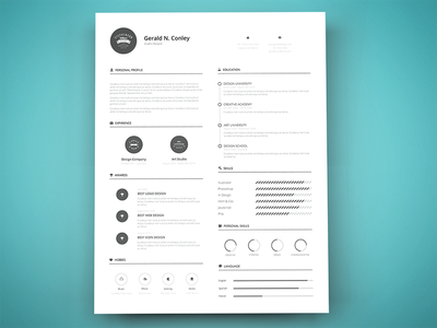 Freebie - Print Ready Resume Template free freebie print resume template cv vector retro simple design style print ready