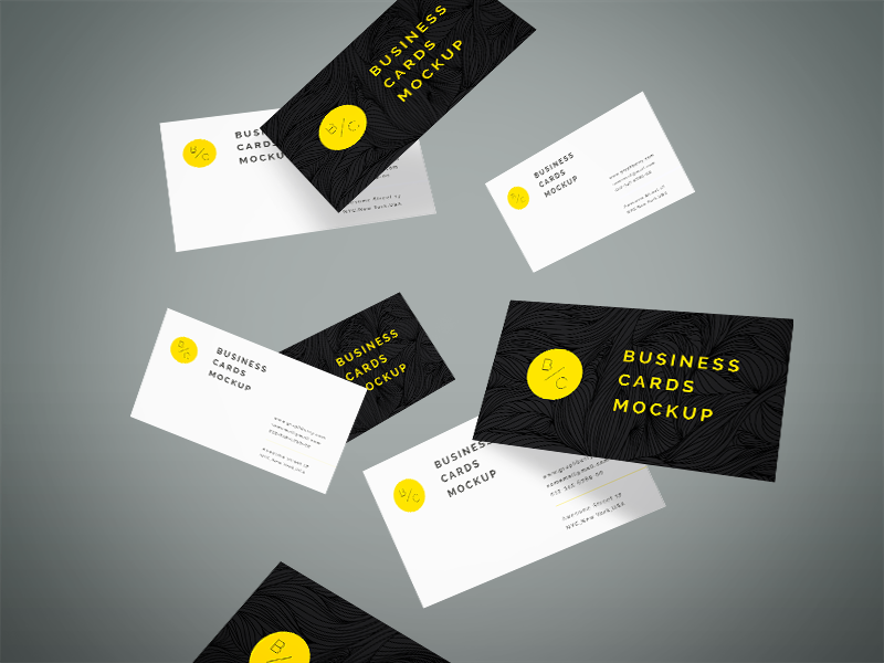 Freebie - Flying Business Cards Mockup by GraphBerry - Dribbble