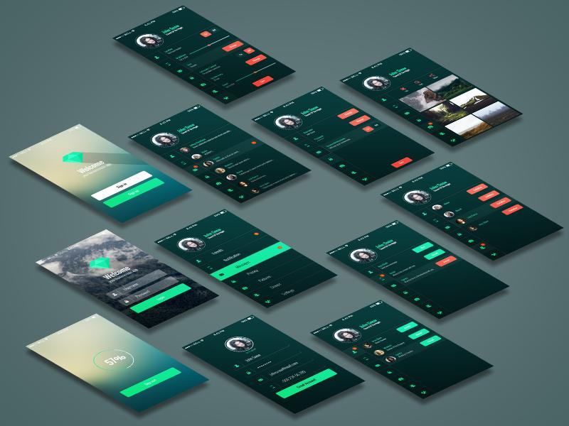 Freebie - Mobile App UI Kit free freebie mobile app ui kit interface design modern style set psd