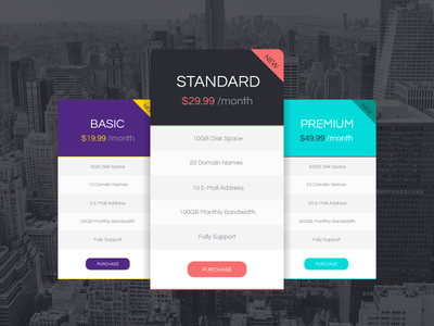 Freebie - Vector Pricing Tables Design free freebie vector pricing table design price modern flat style rectangle shape
