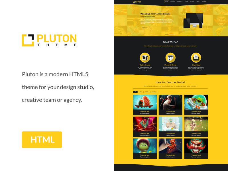 Freebie - Pluton,Bootstrap Html Template css3 html5 free freebie bootstrap theme template responsive web page single modern