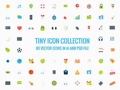 Freebie - 80 Tiny Vector Icons free freebie icon set collection tiny cute cartoon vector ai psd style