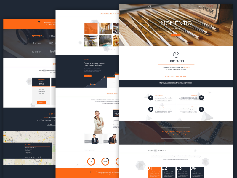 freebie momentio single page psd template by graphberry dribbble