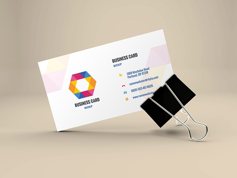 freebie business card mockup in binder clip by graphberry dribbble