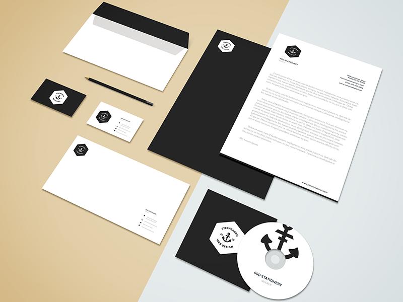Freebie - Branding,Stationery Mockup freebie free branding stationery mockup mock-up letterhead showcase psd isometric style minimal