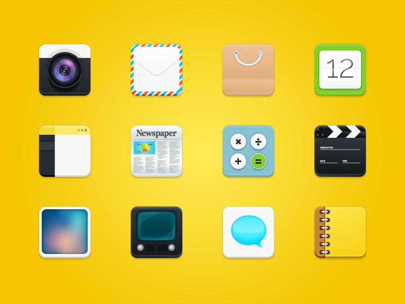 Freebie - 12 Modern Square Rounded Icons icon set modern square phone round sign set symbol icons icon freebie free
