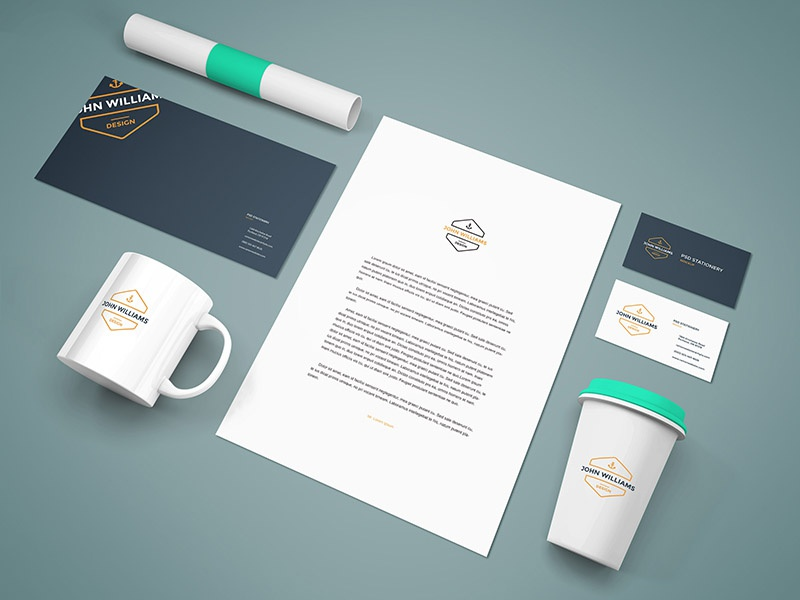 Freebie - Branding Stationery Mockup corporate coffee cup presentation design mock-up mockup psd stationery branding freebie free