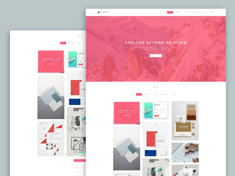 Sneak - Simple Porfolio PSD Website Template freebie landing singlepage porfolio web template psd free