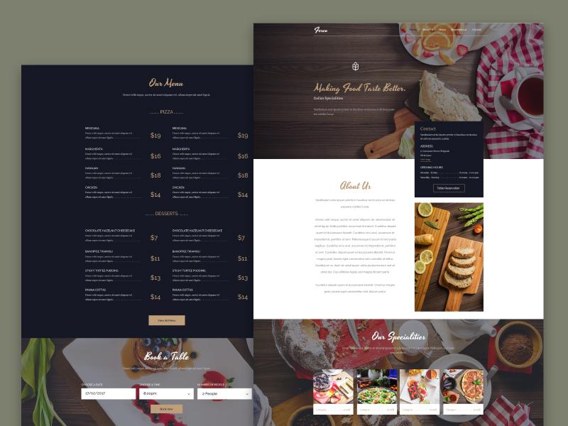 Fesco - Restaurant PSD Template onepage freebie booking restaurant menu free psd template web
