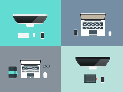 Flat Workspace Illustrations workspace ai eps fribies free desk flat