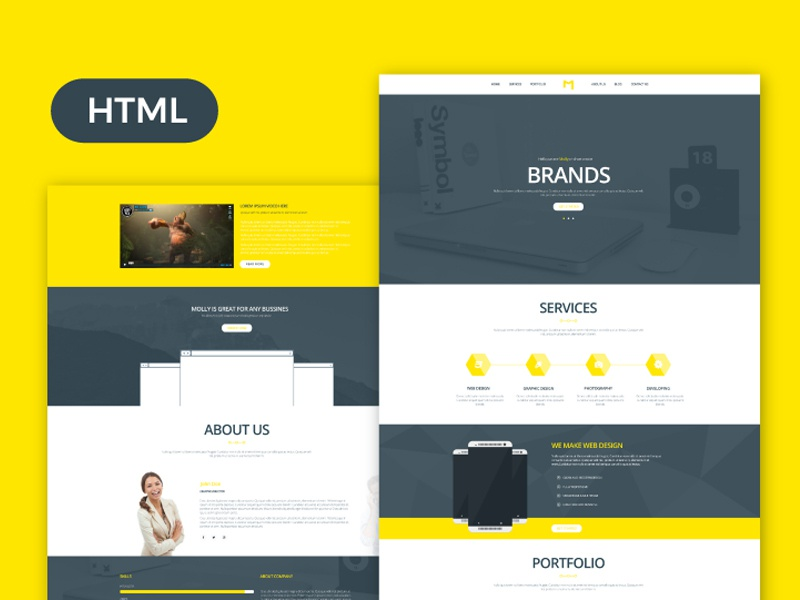 Molly free bootstrap single page portfolio template by for Free html product page template