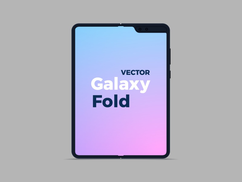 Vector Flat Samsung Galaxy Fold phone freebes free samsung galaxy fold flat